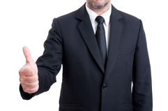 Anonymus business man showing thumb up Stock Photos