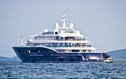 Anonymus luxury mega yacht on open sea Stock Photography