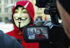 Anonymus protestant against ACTA Royalty Free Stock Images