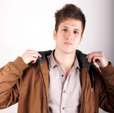 Anorak. Portrait of a young man with anorak Royalty Free Stock Image