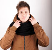 Anorak. Portrait of a young man with anorak Royalty Free Stock Photo