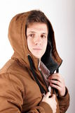 Anorak. Portrait of a young man with anorak Stock Photos
