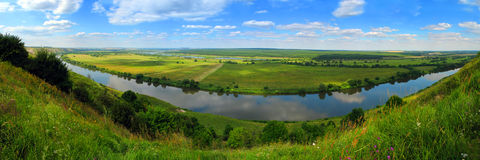 Рanorama of woods, the rivers and fields. Royalty Free Stock Photography