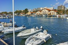 Anoramic view of Port and town of Alexandroupoli, Greece royalty free stock photography