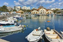 Anoramic view of Port and town of Alexandroupoli, Greece royalty free stock images