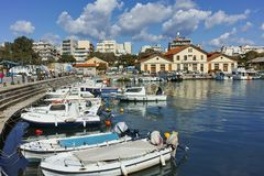 Anoramic view of Port and town of Alexandroupoli, Greece stock images