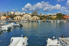 Anoramic view of Port and town of Alexandroupoli, Greece royalty free stock photos