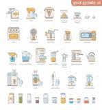 Anordningar för elektronik för kök för översiktssymbolssamling små: espressomaskin, kaffebryggare, matberedare, multicooker, ugn, vektor illustrationer
