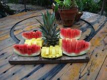 Anordnung der tropischen Frucht Lizenzfreie Stockbilder