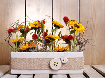 Anordnung mit Sonnenblumen Stockbild