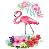 Anordnung von den tropischen Blumen und vom Flamingo lizenzfreie abbildung