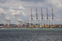 Anordnung von Kränen in einem Containerhafen Stockfoto
