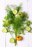 Anordnungsfenchelkoriander-Tomatengurke Lizenzfreie Stockfotografie