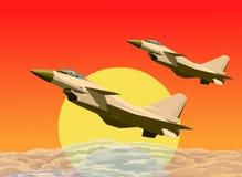 Anordnungsflugwesen der Strahlen J-10 in den Sonnenuntergängen Stockfotografie