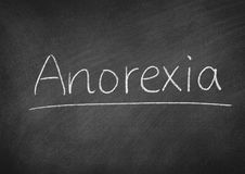 Anorexia. Concept word on a blackboard background royalty free stock photos
