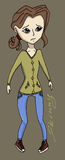 Anorexia girl vector illustration. Skinny Royalty Free Stock Photos