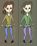 Anorexia girl vector illustration. Skinny Royalty Free Stock Photography