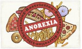 Anorexia Nervosa ilustrujący z znakiem nad jedzeniem ilustracji