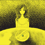 Anorexia pojęcie - młoda kobieta bez usta obsiadania przy tabl Royalty Ilustracja