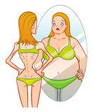 Anorexia. A skinny girl looks in the mirror and sees herself as fat. Anorexia illustration Stock Images