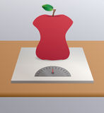 Anorexic apple. Illustration of an anorexic apple above a tilted Stock Image