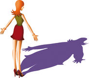 Anorexic lady. Reflected shadow of woman is bigger than herself Royalty Free Stock Images