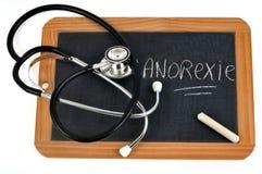Anorexie in het Frans op een schoollei die wordt geschreven stock afbeelding