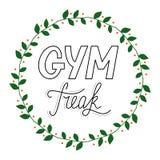 Anormal retro tirado mão do Gym da rotulação ilustração royalty free
