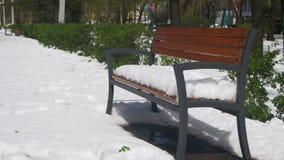 Anormales Wetter im April Eine Bank bedeckt mit Schnee in einem Park auf einem Hintergrund von grünen Büschen stock video footage