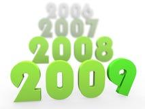 Anos 3D verdes que começam 2009 ilustração do vetor