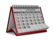 2019 anos Calendário para dezembro Ilustração 3d isolada ilustração do vetor