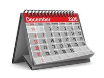 2020 anos Calend?rio para dezembro Ilustra??o 3d isolada ilustração stock
