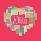 20 anos de ícone do casamento ou da união, ilustração Fotografia de Stock Royalty Free