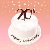 20 anos de ícone do vetor do casamento ou da união, ilustração Imagens de Stock