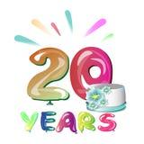 20 anos de aniversário Imagem de Stock