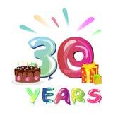 30 anos de aniversário com presente e bolo Imagens de Stock Royalty Free