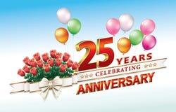 25 anos de aniversário com um ramalhete das rosas e dos balões Imagem de Stock