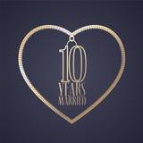 10 anos de aniversário de ser ícone casado do vetor, logotipo Imagem de Stock