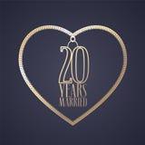 20 anos de aniversário de ser ícone casado do vetor, logotipo Imagem de Stock Royalty Free