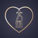 25 anos de aniversário de ser ícone casado do vetor, logotipo Foto de Stock Royalty Free