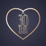 30 anos de aniversário de ser ícone casado do vetor, logotipo Imagens de Stock Royalty Free