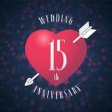 15 anos de aniversário de ser ícone casado do vetor, logotipo Imagem de Stock