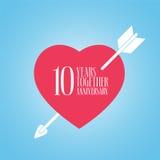 10 anos de aniversário do ícone do vetor do casamento ou da união, ilustração Fotografia de Stock Royalty Free