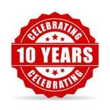 10 anos de aniversário que comemora o ícone do vetor Imagens de Stock Royalty Free