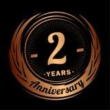 2 anos de anivers?rio Projeto elegante do aniversário ? logotipo ilustração royalty free