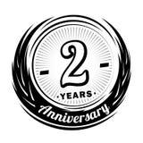 2 anos de anivers?rio Projeto elegante do aniversário ? logotipo ilustração stock