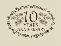 10 anos de cartão do aniversário Imagem de Stock
