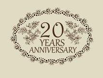 20 anos de cartão do aniversário Fotos de Stock
