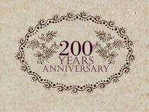200 anos de cartão do aniversário Imagem de Stock Royalty Free