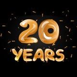 20 anos de celebração dourada do aniversário ilustração stock